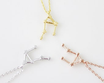 Rose Gold Libra Necklace Libra Constellation Necklace Gold and Silver Zodiac Libra Pendant Necklace