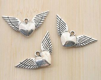 12pcs antiqued silver heart wing pendant charm G549
