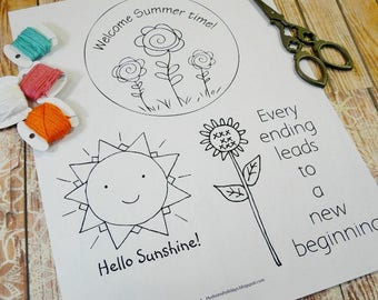 Welcome summer 3 Stitchery PDF Pattern - embroidery sheet easy simple sun sunflower