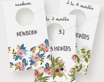 Floral Closet Dividers | Printable Closet Organizers, Modern, Baby, Nursery Decor, Nursery Organization, Painted Florals