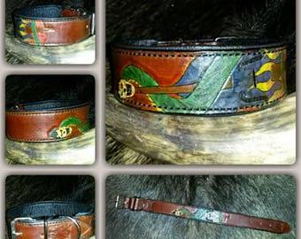 Dog collar, leather collar, Rockybilly