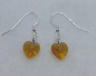 Sterling Silver Swarovski Crystal Topaz Heart Earrings (November Birthstone)