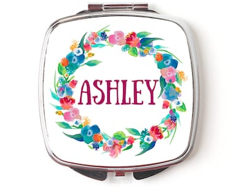 Bridesmaids Gift // Floral Watercolor Wreath Personalized Gifts for Bridesmaid Compact Purse Mirror