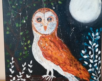 Ooak Barn owl painted in acrylics on canvas