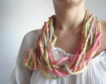 Ombre Loop Scarf, Winter Scarf, Larrge Infinity Scarf, Circle Snowflake Scarf, Christmas Scarf, Christmas Trendy Gifts, Gifts for Girls