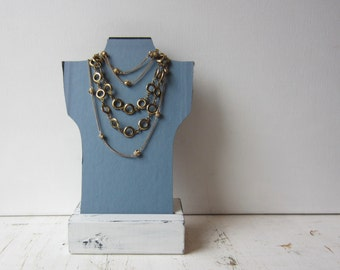 One Petite Necklace Bust Reversible - Dark Blue / Light Blue - Recycled Book Necklace Jewelry Display - Quantities Available