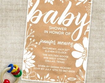 Kraft Paper Baby Shower Invitation - White Flowers - Baby Boy or Baby Girl Digital Printable File - Professional Printing Option - Cardtopia