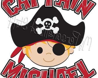 Personalized PIRATE CAPTAIN Boys t shirt black red stripes crossbones skull Birthday Party Tee