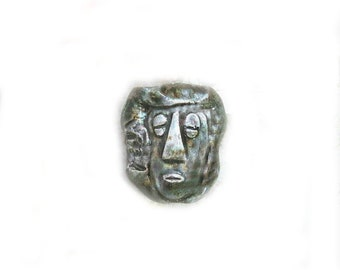 Tiki bead - tribal bead - Ceramic beads - African face bead - Hawaiian bead - focal bead -     # 3