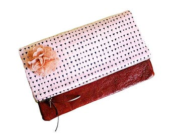 Triangles Pink Leather Clutch, Foldover Clutch Purse, Zippered Clutch Bag, Women's Evening Bag, Gift for Her