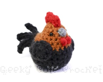 Rooster Bird Chicken Stuffed Plush Toy Amigurumi Crochet