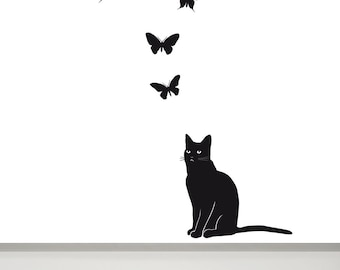 Cat Sticker, Cat Wall Decal, Butterfly Wall Decal, Cat Decals, Cat Mural, Cat Wall Art, Cat Decal,  kitty decal, baby decal, kitten decal
