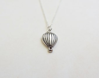Hot Air Balloon Necklace - Sterling Silver Journey Necklace - Graduation Gift - Grad Necklace - Adventure Necklace - Silver Hot Air Balloon