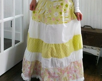 Boho Skirt | Washed Cotton Skirt | Gypsy Skirt | Layered Skirt | Mori Girl Skirt | The Wild Raspberry