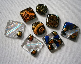 Super Sale Dichroic Fused Glass Cabochons, 8 Dichroic Cabochons, Dichroic Cabs, Willow Glass
