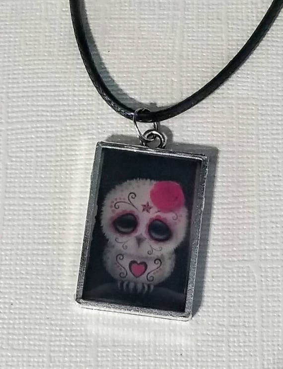 Day of the Dead Owl - color changing necklace