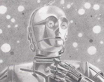 Character on paper portrait: C3P0