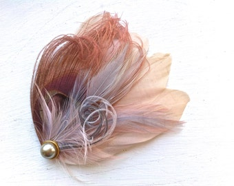 SIDNEY in Champagne, Dusty Rose, and Grey Peacock Feather Fascinator with Crystal and Pearl, Feather Hair Clip, Bridal Hair Piece