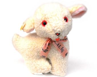 1974 Musical Lamb Toy Vintage Dollcraft Industries Rare Lamie Pie Plush Frère Jacques Lambie Cuddle Toys Music Note Pink Ribbon Original Tag