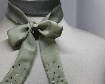 Choker necklace, green silk scarf, green silk, silk ribbon, swaroski stones, Swaroski crystals, silk bow, women's necklace