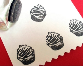 Tiny Cupcake Rubber Stamp - Handmade rubber stamps by BlossomStamps
