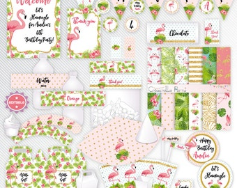 Tropical flamingo - editable printable party decoration package - INSTANT DOWNLOAD - A4 & LETTER