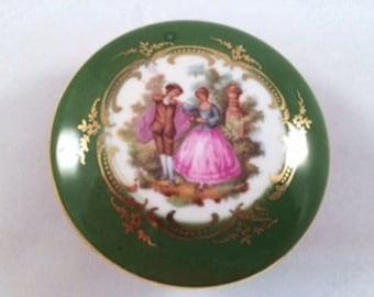 Green Limoges porcelain trinket box