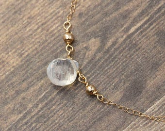 Rainbow Moonstone Necklace 14k Solid Gold - Delicate necklace - Dainty necklace