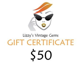 Digital Lizzy's Vintage Gems Gift Certificate 50.00 / Shop Gift Certificate / Buy Gift Certificate / Prepaid Gift Certificate