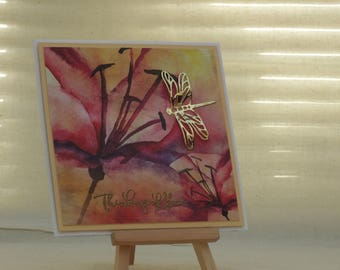Handmade Thinking of you card with Lilly and gold dragon fly
