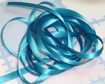 METHYL BLUE DouBLe FaCeD SaTiN RiBBoN, Polyester 1/4 inch wide, 5 Yards