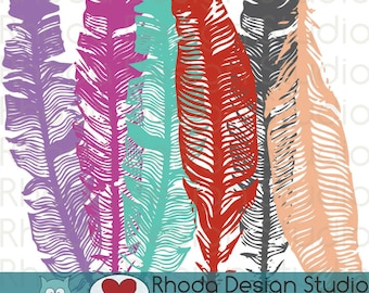 Boho Color Feathers Digital Clip Art stamps