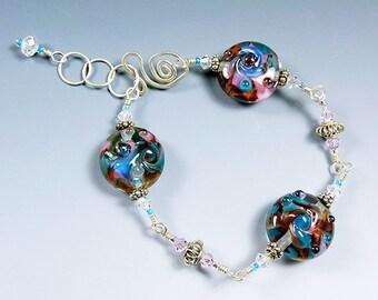 BirdDesigns Sterling Silver Lampwork Bracelet - ooak - J603