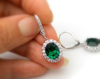 bridal wedding jewelry bridesmaid party gift Clear white cubic zirconia emerald green oval swarovski crystal leverback earrings pave cz