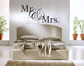 Wall Decor Mr. and Mrs. Vinyl Decal, Wedding Decals for Signs, Master Bedroom Mr. and Mrs. Vinyl Decal, Wedding Gift, Gift for Wedding