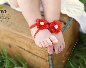 Baby Barefoot Sandals ~ Red Satin Flower Sandals ~ Toddler Sandals ~ Newborn Sandals ~ Baby Flower Sandals ~ Flower girl sandals
