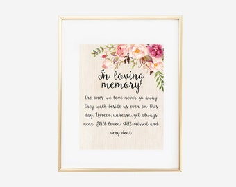 In Loving Memory Sign, In Loving Memory Wedding Sign, Memorial Sign, In Memory of Print, Remembrance Sign, Instant Download, Angel Print,