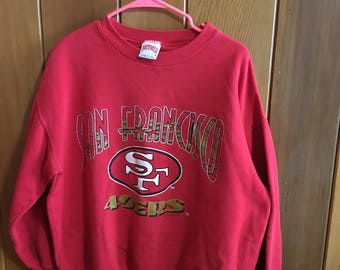 Vintage Red 1990s San Francisco 49ers Sweatshirt Large