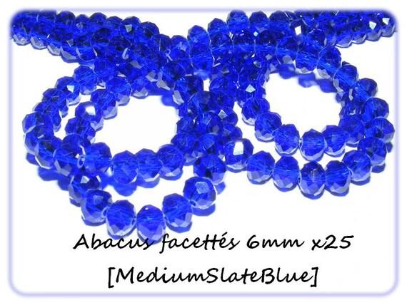 Abacus faceted 6x4mm crystal of Bohemia MediumSlateBlue x 25 beads