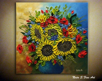 SUNFLOWER Painting, Bouquet Painting, Impasto Flower Art, Original Sunflower, Palette Knife, Colorful Painting, Large Artwork  by Nata S.
