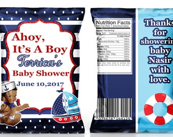 Ahoy, It's A Boy Baby Shower chip bag, Baby shower favor, Nautical favors, Nautical baby shower--Different skin tones available-DIGITAL FILE