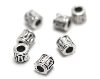 "50 beads ""Tibetan tube"" 5 x 5 mm silver 011 has"