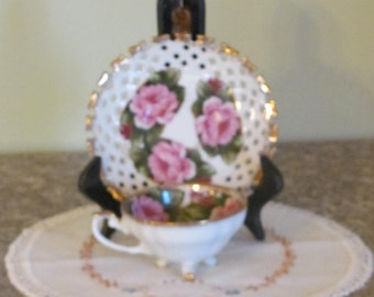 Vintage Relco Rose Pattern Footed Tea Cup with Lattice Saucer