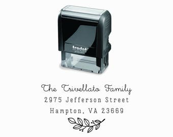 Branch Self-Inking Address Stamp |  Minimalist Simple Floral Below Return Address Gift | Self Inking & Eco Friendly Rubber Stamp Creatiate