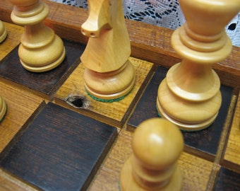 Handmade Wood Chess Board salvaged Chestnut wood from 1830's Barn Beams, carved chess pieces, Heirloom Chess Set