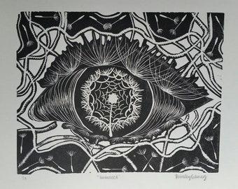 Dandelion Eye Linoleum Print - B&W