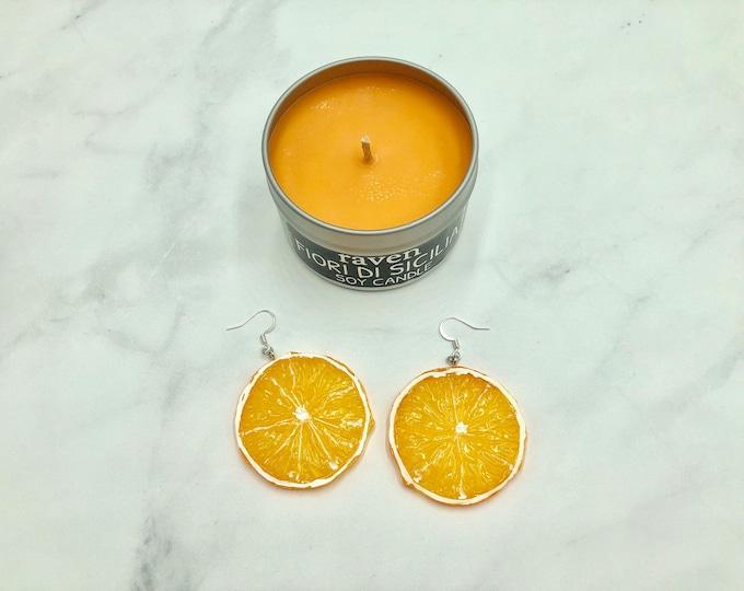 CREAMSICLE: large statement orange slice earrings