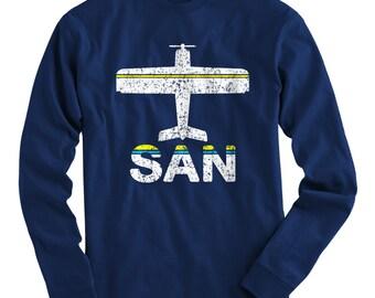 LS Fly San Diego T-shirt - SAN Airport Long Sleeve Tee - Men and Kids - S M L XL 2x 3x 4x - California - 3 Colors