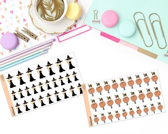 """FALL / HALLOWEEN """"MAY"""" Doodle Paper Planner Stickers!"""