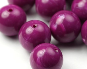 Vintage Lucite Beads Round Red Violet and White 14mm (8) VPB233